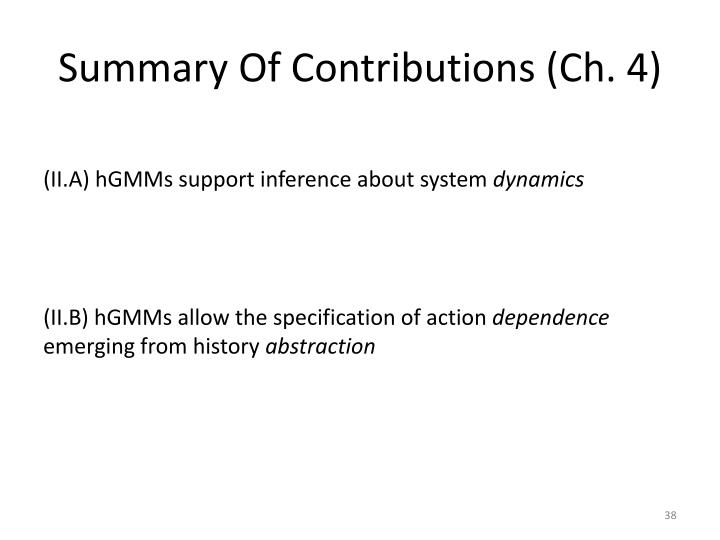 Summary Of Contributions (Ch.