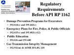 regulatory requirements before api rp 1162