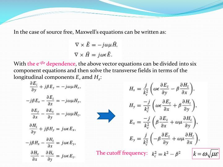 In the case of source free, Maxwell's equations can be written as: