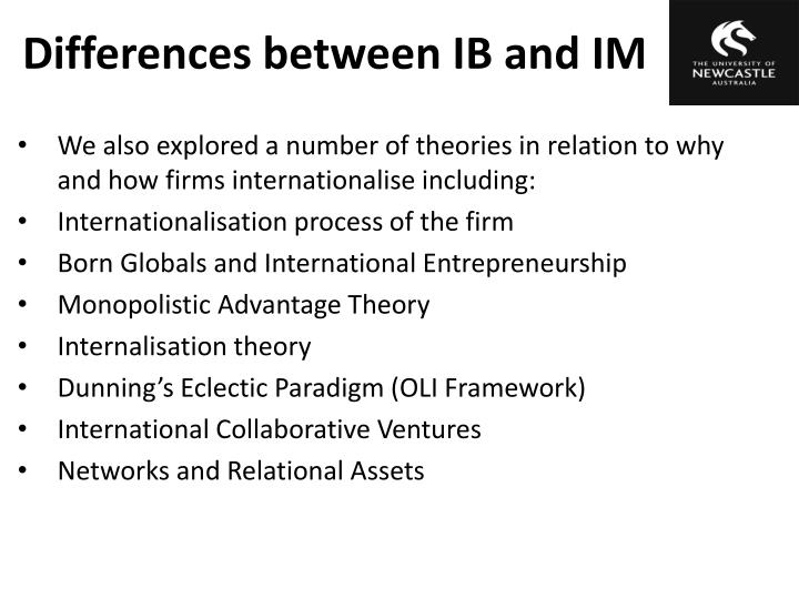 the internationalisation of the firm Internationalization strategies and sme survival in the export market traditional internationalization theories, such as the ipm (johanson & vahlne, 1977), are largely based on the theory of the growth of the firm (penrose, 1959) and the behavioral theory of the firm (cyert & march, 1963.