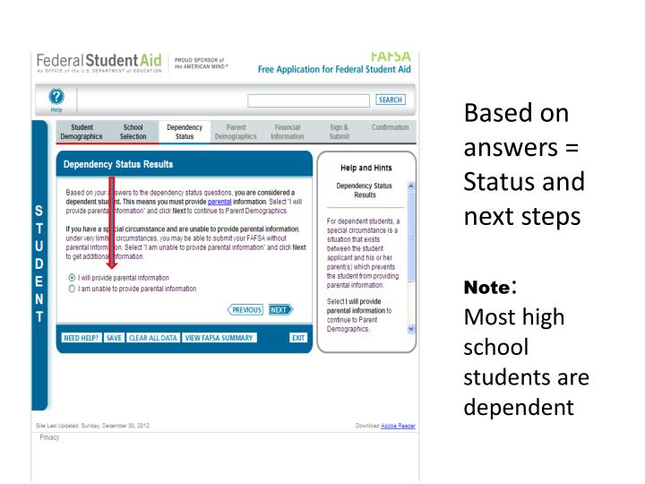 Based on answers = Status and next steps