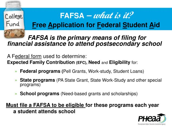 Fafsa what is it f ree a pplication for f ederal s tudent a id