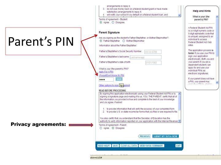 Parent's PIN
