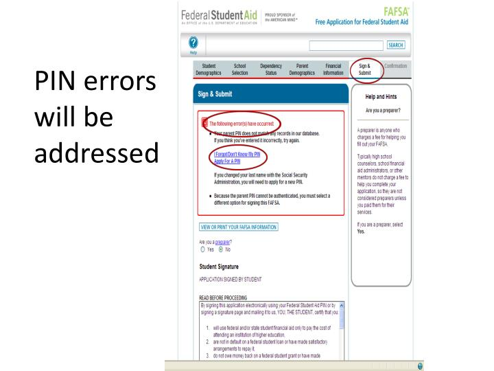 PIN errors will be addressed