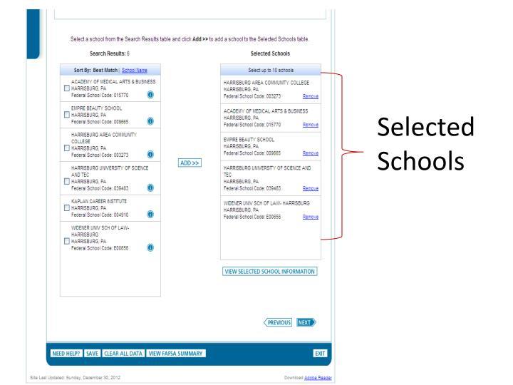 Selected Schools