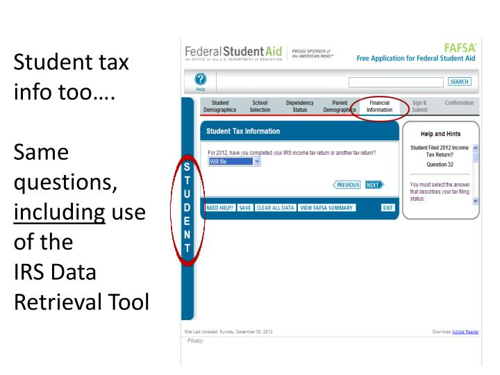 Student tax info too….