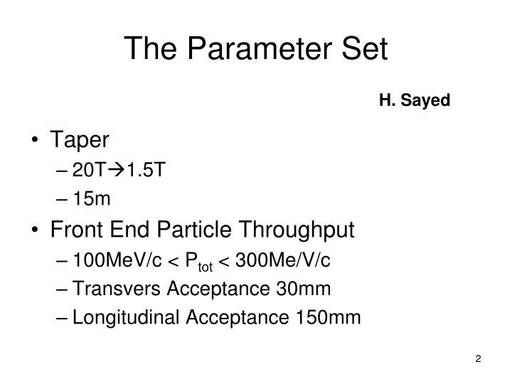 The parameter set