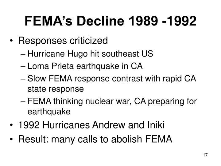 FEMA's Decline 1989 -1992