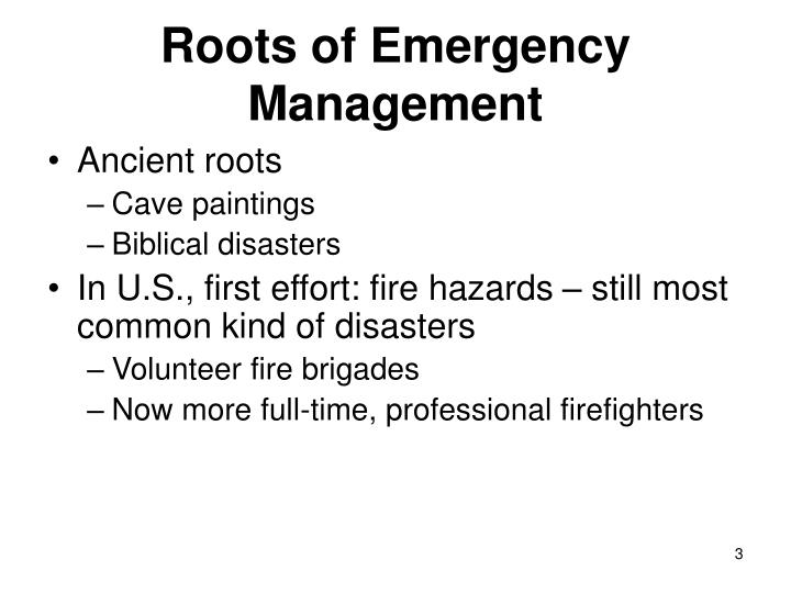 Roots of emergency management