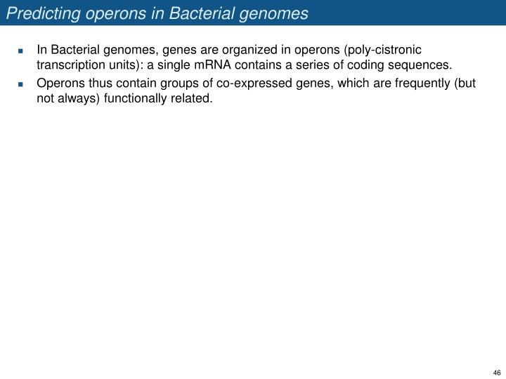 Predicting operons in Bacterial genomes