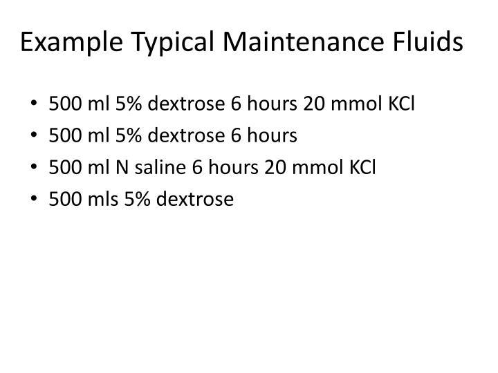 Example Typical Maintenance Fluids