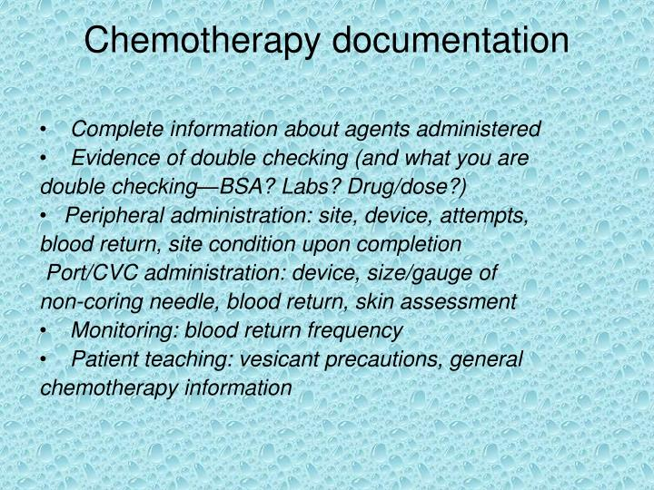 Chemotherapy documentation