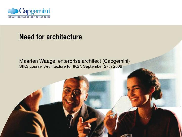 need for architecture