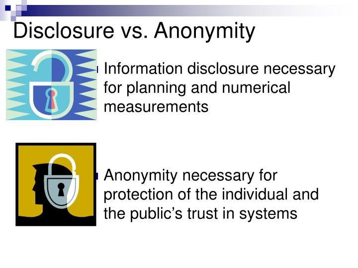 Disclosure vs anonymity