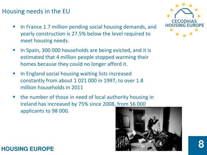 Housing needs in the EU