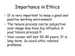 importance in ethics