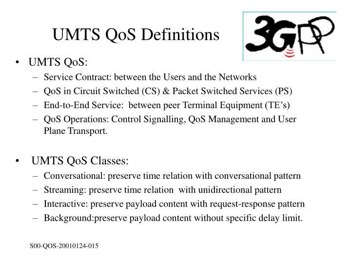 UMTS QoS Definitions