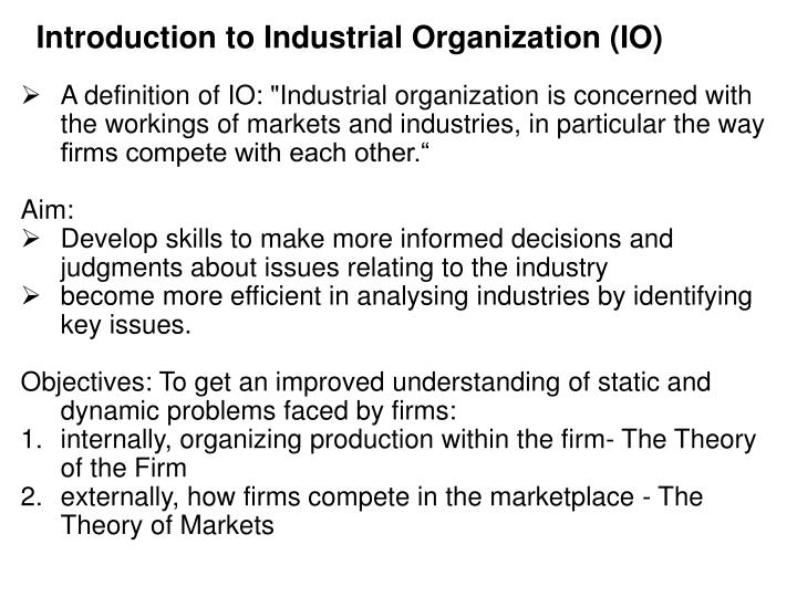 Introduction to Industrial Organization (IO)