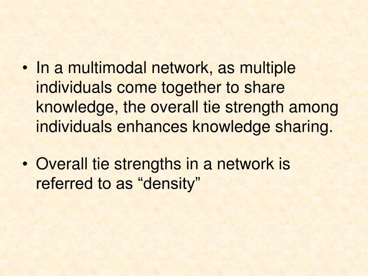 In a multimodal network, as multiple individuals come together to share knowledge, the overall tie strength among individuals enhances knowledge sharing.