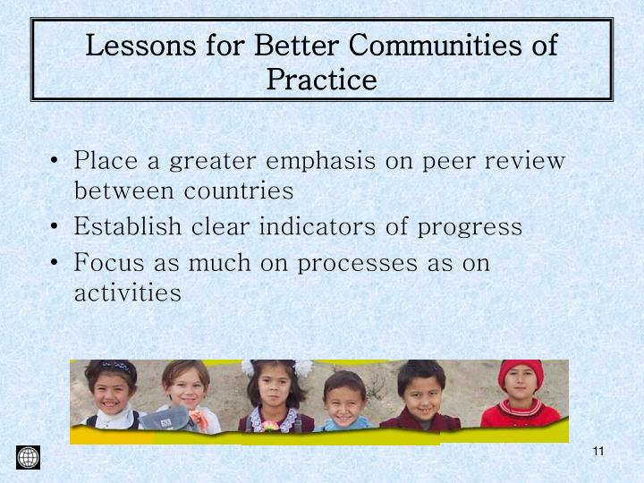 Lessons for Better Communities of Practice