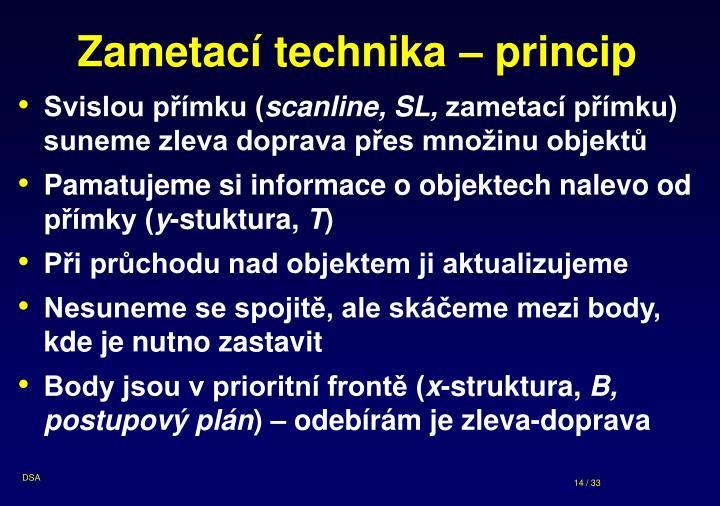 Zametací technika – princip