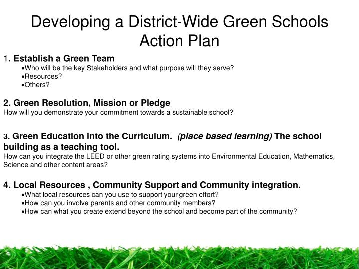 Developing a District-Wide Green Schools Action Plan