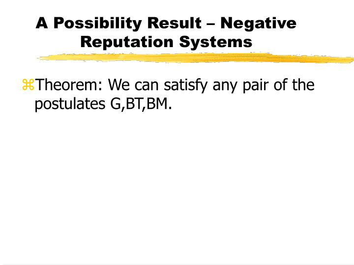 A Possibility Result – Negative Reputation Systems