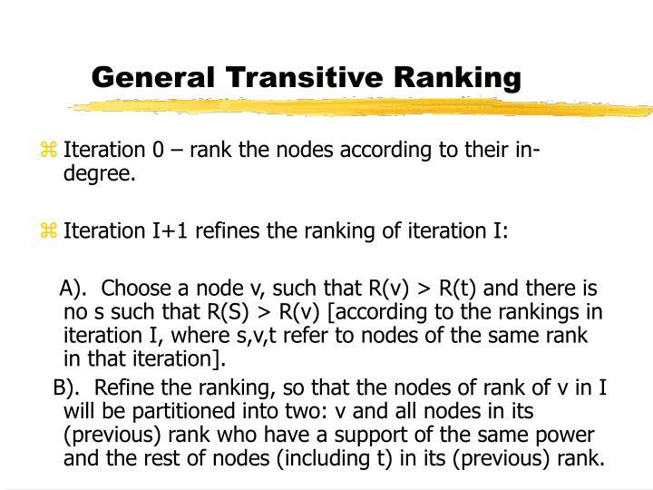 General Transitive Ranking