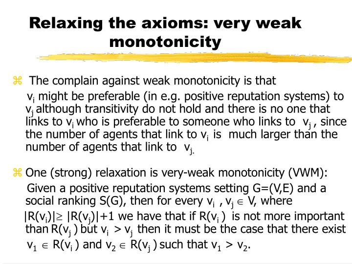 Relaxing the axioms: very weak monotonicity