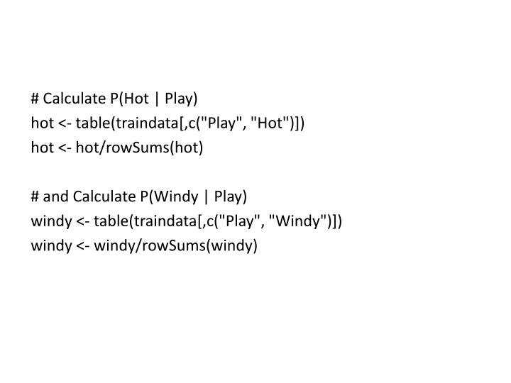 # Calculate P(Hot | Play)