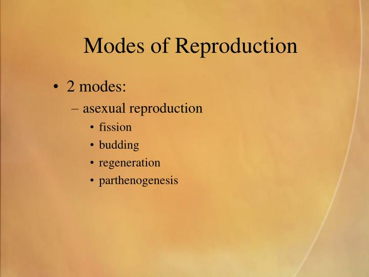 Modes of reproduction