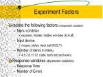 experiment factors