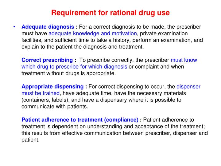 Requirement for rational drug use