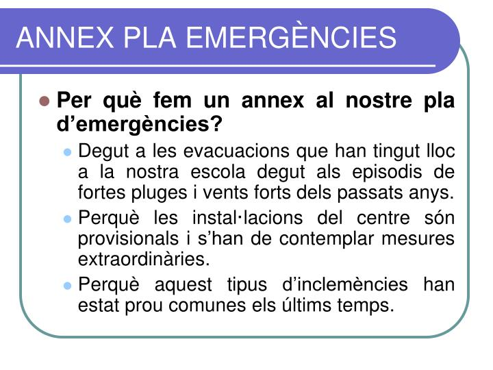 Annex pla emerg ncies