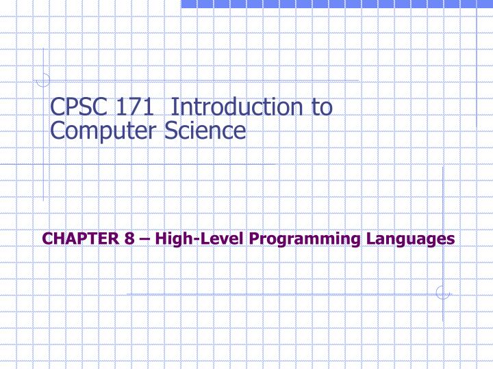 chapter 8 high level programming languages n.