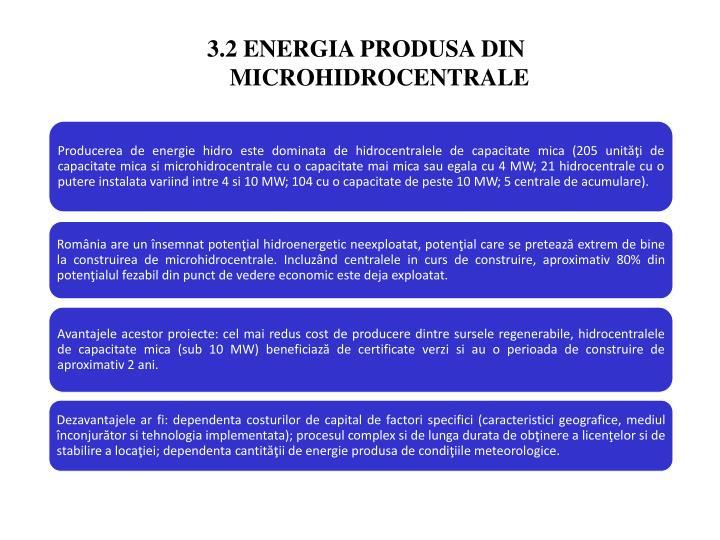 3.2 ENERGIA PRODUSA DIN MICROHIDROCENTRALE