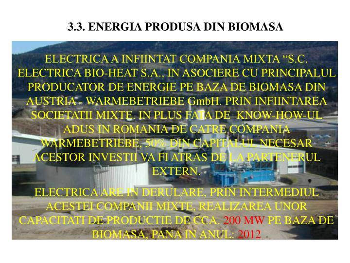 3.3. ENERGIA PRODUSA DIN BIOMASA