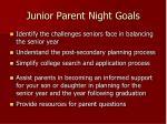 junior parent night goals