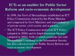 icts as an enabler for public sector reform and socio economic development
