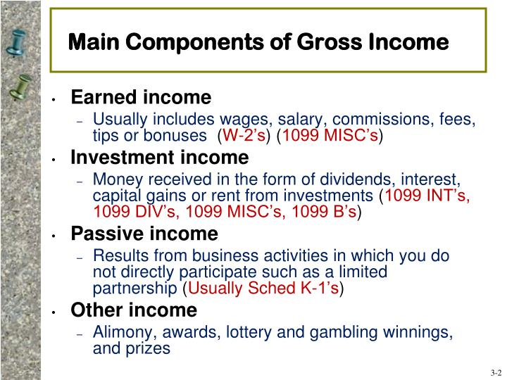 Main components of gross income