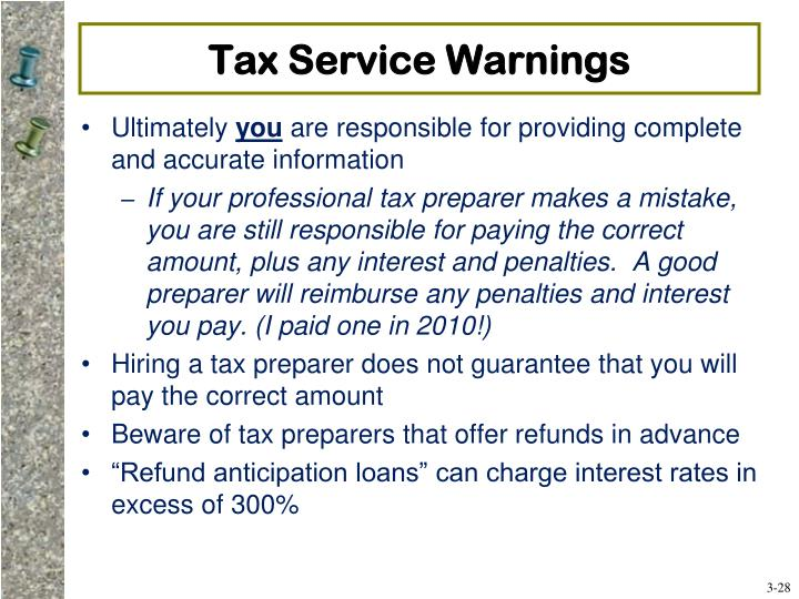 Tax Service Warnings