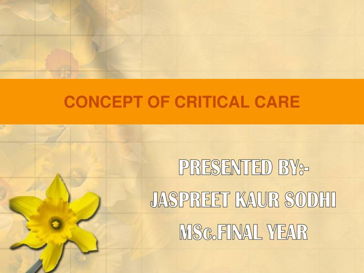 concept of critical care n.