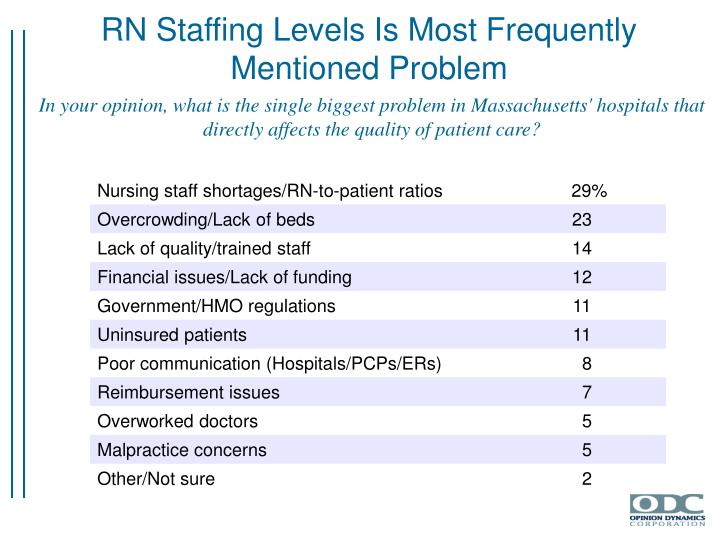 RN Staffing Levels Is Most Frequently Mentioned Problem