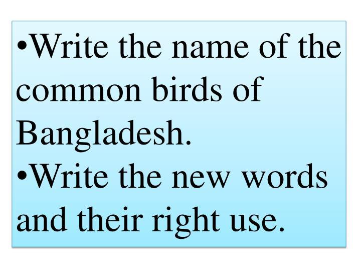 Write the name of the common birds of Bangladesh.