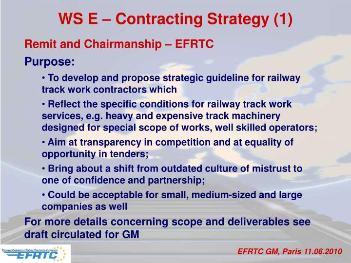 WS E – Contracting Strategy (1)