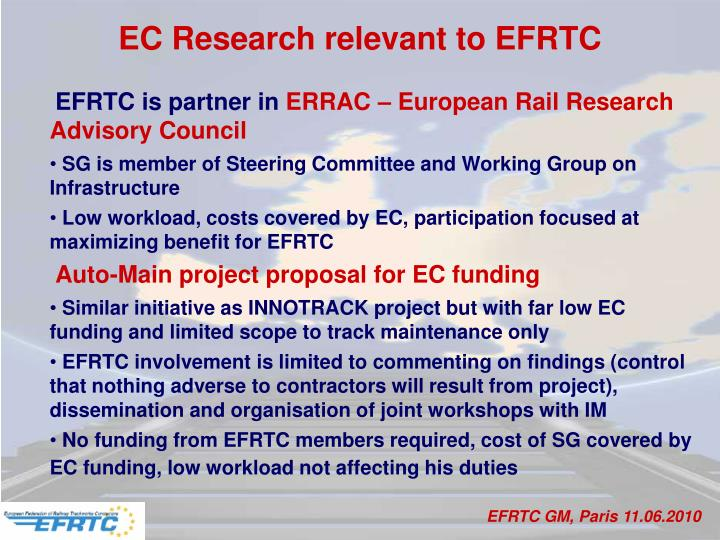 EC Research relevant to EFRTC