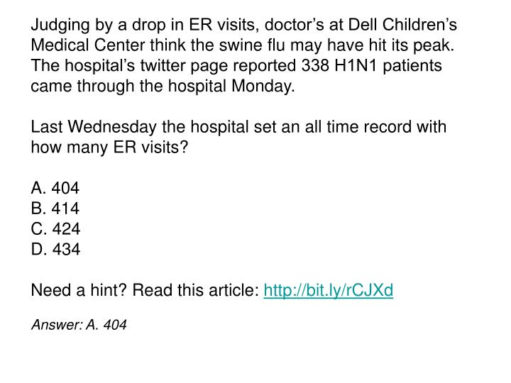 Judging by a drop in ER visits, doctor's at Dell Children's Medical Center think the swine flu may have hit its peak. The hospital's twitter page reported 338 H1N1 patients came through the hospital Monday.