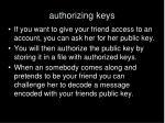 authorizing keys