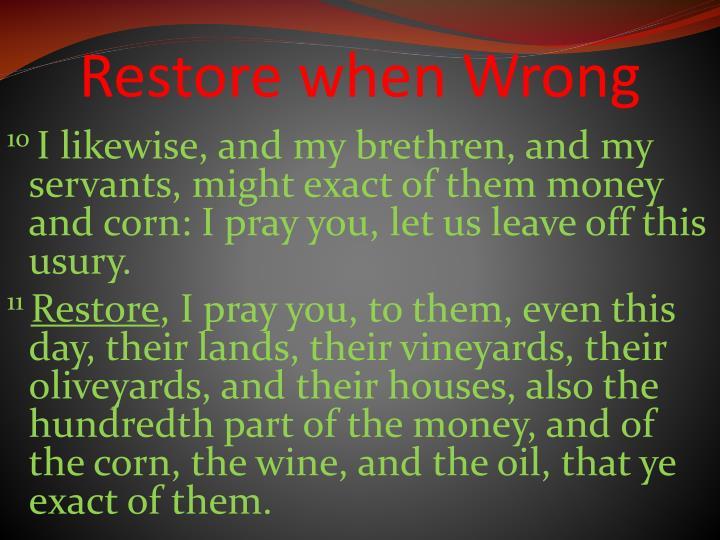 Restore when Wrong