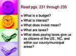 read pgs 231 through 235